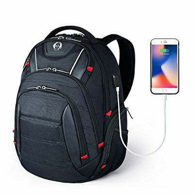 Swissdigital Laptop Backpack, Busniess Travel Polyester Backpack with (black)