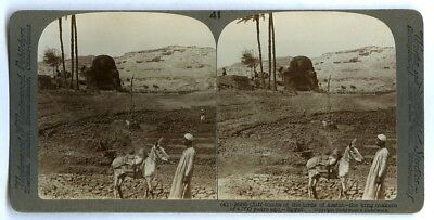 Vintage Stereoview, Cliff Tombs of the Lords of Assiut, Egypt, m68852