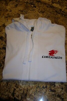 Checkmate Knight Boat Sz LG Embroidered Lightweight Hooded Sweatshirt Full Zip