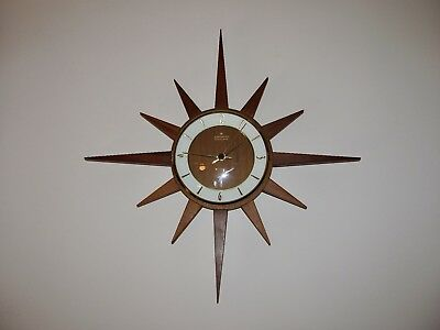 Retro Mid Century Junghans Timber Starburst Sunburst Vintage Wall Clock In VGWO