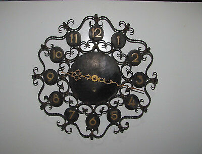 Very Old Barb Wire Look Metal Frame Wind-Up Wall Clock With Key Working
