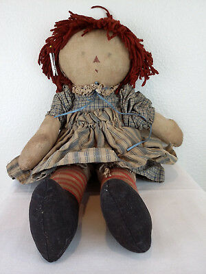 "Vintage Raggedy Ann Doll Old Distressed Americana Primitive Handmade 20"" long"