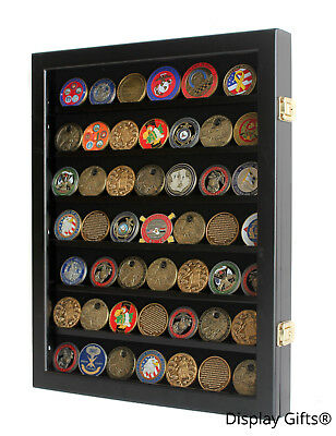 LOCKABLE Challenge Coin Display Case Casino Chip Frame Shadow Box Cabinet