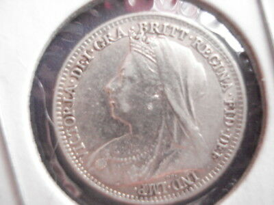 Great Britain 3 silver Pence, 1896, au