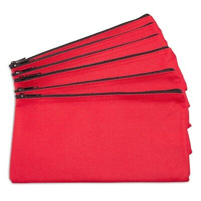DALIX Zipper Bank Deposit Money Bags Cash Coin Pouch 6 Pack in Red