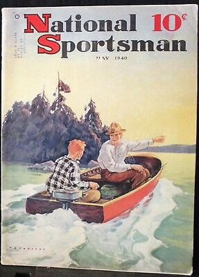 """VINTAGE  """"National Sportsman"""" Magazine, May 1940, Budweiser ad, G-VG condition"""