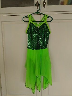 Designs for Dance Green Sequin Dance Dress Costume Size MC