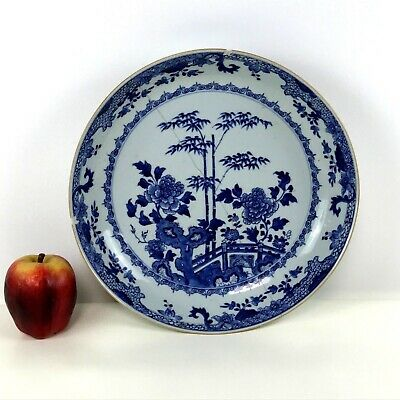 Antique circa 1700's Chinese Porcelain Round Platter Tray