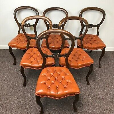 Set of 6 Victorian Balloon Back Dining Chairs W/ Tufted Seat Upholstery