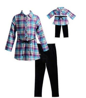 dollie and me girl plaid flannel tunic with knit leggings Size 6 NWT