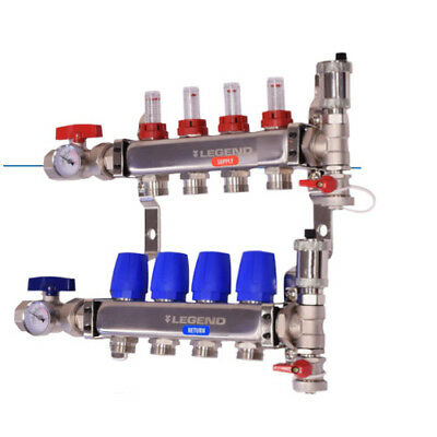 Legend 8330P-10-4 Stainless Steel Pro Manifold/Isolation Valves with Thermometer