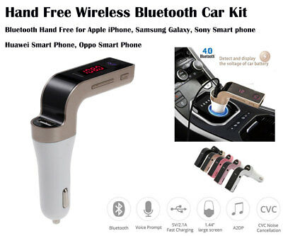 WirelessHands Free Bluetooth Car Kit FM Transmitter Car Charger USB Music Player