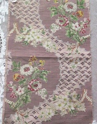 """Antique French 18thC c1760 Floral Silk Brocade Sample Fabric~L-18.5"""" X W-10.5"""""""