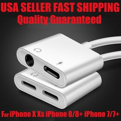 For iPhone Xs MAX X 8 Plus iOS 12 Aux Audio Charge Adapter Cable Dongle USA