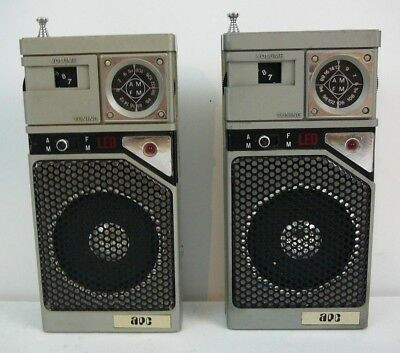 Lot of 2 Rare Vintage APC Transistor AM FM Radio Radios Hong Kong IK LK 3008