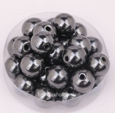 35-100X Ball  Magnetic Hematite  Black Color Spacer Beads Findings 4/6/8/12mm BT
