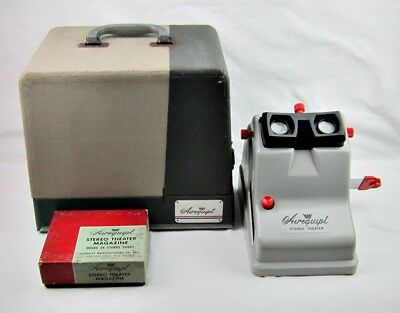 Vintage Airequipt Stereo Theater Slide Viewer With Case Manual Tray Extra Bulb