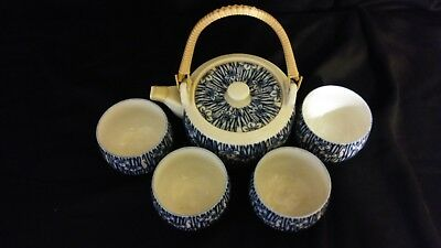 antique Japanese blue and white porcelain tea set