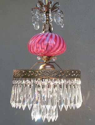 Cranberry swirl optic brass Glass Lamp Chandelier Vintage Ceiling Fenton crystal