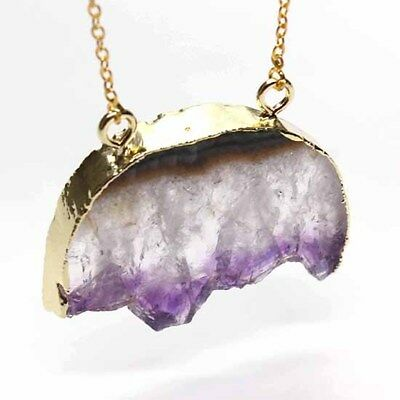 Natural Healing Crystal Amethyst Quartz Stone Double Hoop Chain Pendant Necklace