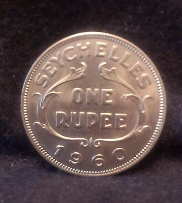 1960 Seychelles rupee, good uncirculated, mintage 60,000 only, KM-13