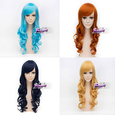 Women's Fashion 70CM  Long Curly Anime Cosplay Wig Heat Resistant