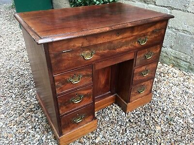 Antique Georgian Flamed Mahogany Kneehole Secretaire Desk . Delivery Available