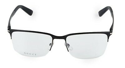 04df19f0a99 Gucci 55MM Square Optical Glasses Matte Black Made in Italy MSRP  300 W   Case