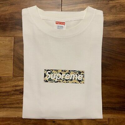 e85230160 2002 Supreme Bape Yellow Psyche Star Camo #3 Box Logo Tee Shirt VTG Size XL