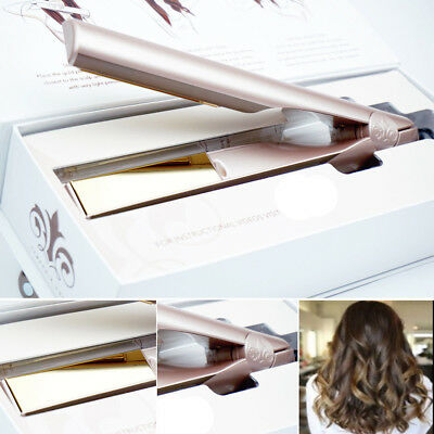AU New 2018 TYME Iron 2 in 1 Hair Straightening Curling Gold Plated Titanium