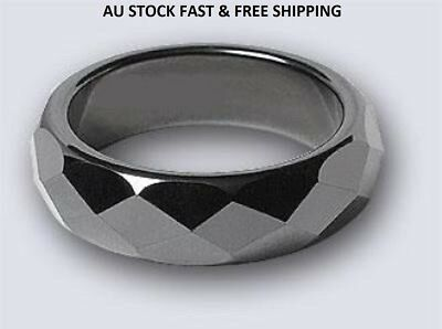 Non-Magnetic Hematite Faceted Finger Ring 19-20-21mm Dia Arthritic Pain BP(A026)
