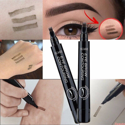 4 Head Microblading Eyebrow Tattoo Pen Waterproof Fork Tip Sketch Makeup Ink F3S