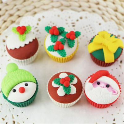 2pcs Cupcake Santa Claus 3D Rubber Eraser School Stationery Christmas Kids Gift