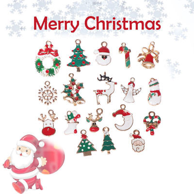 19pcs Metal Alloy Mixed Christmas Charms DIY Pendant Ornament Home Party Decor**
