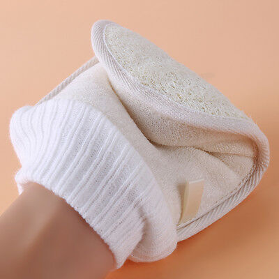 Bath Glove Natural Loofah Thumb Exfoliating Body Scrub Cleaning Gloves Large New
