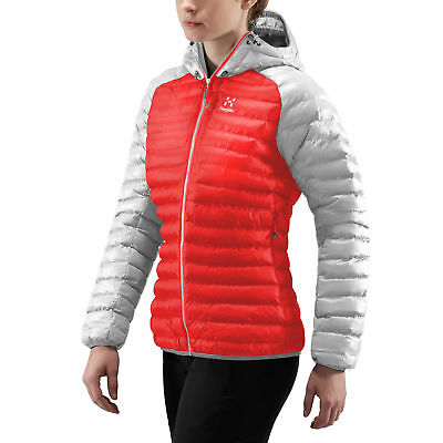 Haglofs Womens Essens Mimic Hooded Jacket Top Red Silver Sports Outdoors