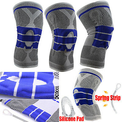 Compression Full Knee Support Brace Sleeve Silicone Padded Pain Relief Gym Sport