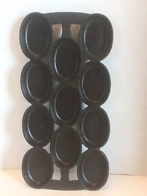 Vintage Cast Iron No.8 Oval Gem Muffin Biscuit Pan Antique
