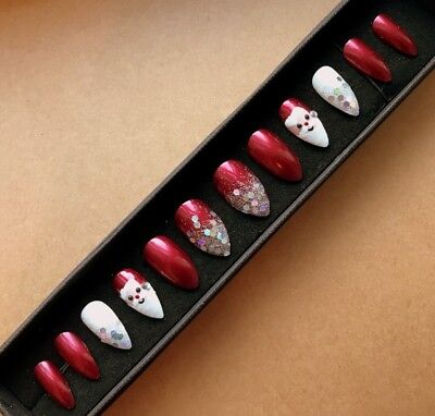 Hand Painted False Nails STILETTO Full Cover CHRISTMAS SANTA Glitter Red XMAS