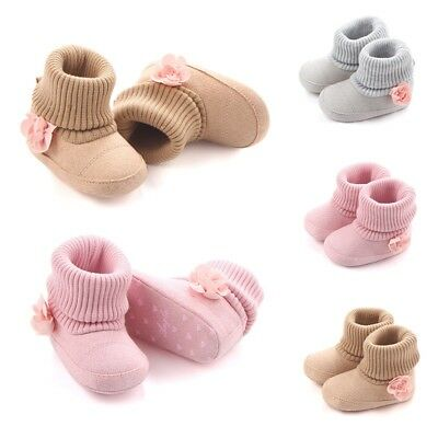Newborn Baby Girls Knit Flower Warm Boots Infant Toddler  Snow Slippers UK