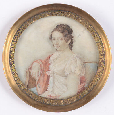 "Motelay (fl.1789 - early 19th c.)-Attrib. ""Lady in white Empire dress"" miniature"