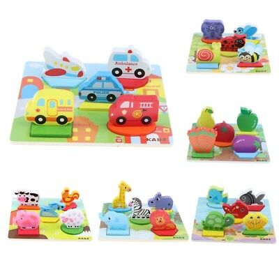 Baby Toddler Colourful Wooden Puzzle Animals Fruits Puzzle Educational Toy Gift