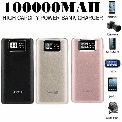 External 100000mAh Power Bank Pack Portable USB Battery Charger For Mobile Phone