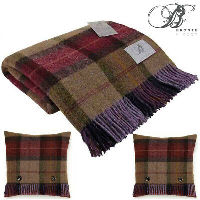 Bronte Skye Check Mulberry Pure New Shetland Wool Blanket And 2 x Cushions Throw