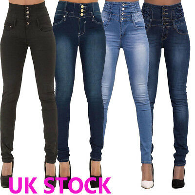 WOMEN HIGH WAISTED Denim SKINNY JEANS JEGGINGS STRETCHY LONG Pants SIZE 6 To 16