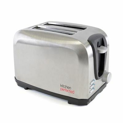 Kitchen Perfected 7 Stage Kitchen Perfected Brushed Steel 700w 2 Slice Toaster