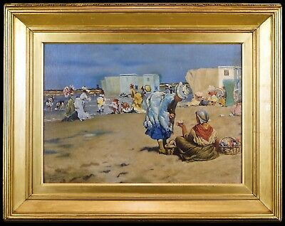 Victorian Ladies on a Beach - 20th Century Oil Painting in Antique Gilt Frame