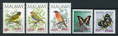 Malawi 2018 MNH Birds & Butterflies OVPT 5v Set Butterfly Insects Stamps