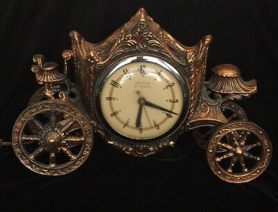 Vintage Electric Self Starting Carriage Mantel Clock By United Clocks Model 605