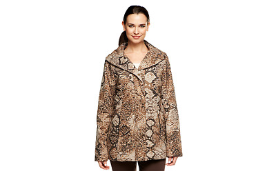 Dennis Basso Animal Print Quilted Coat Faux Fur Lining Pick Size Color new